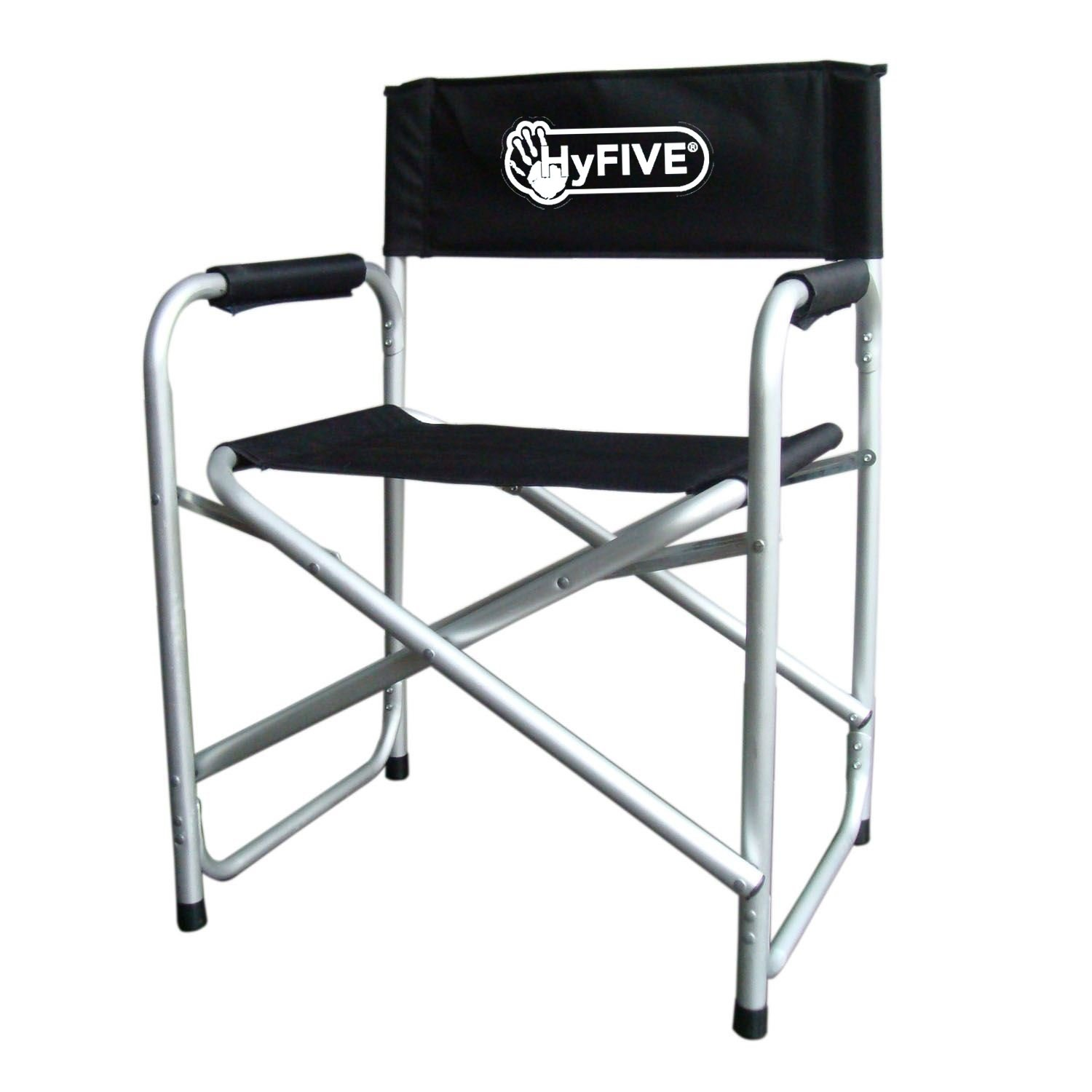 Black Aluminium Directors Folding Chair With Arm Rest Camping Fishing Garden