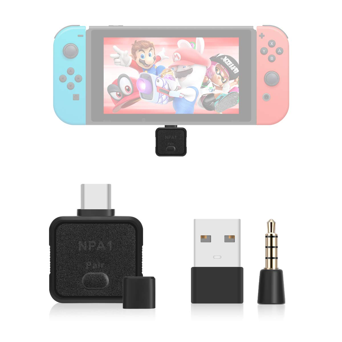 LANMU USB Type C Bluetooth Audio Transmitter Adapter Compatible with Nintendo Switch,PS4,PC,Bluetooth Headphones. by LANMU