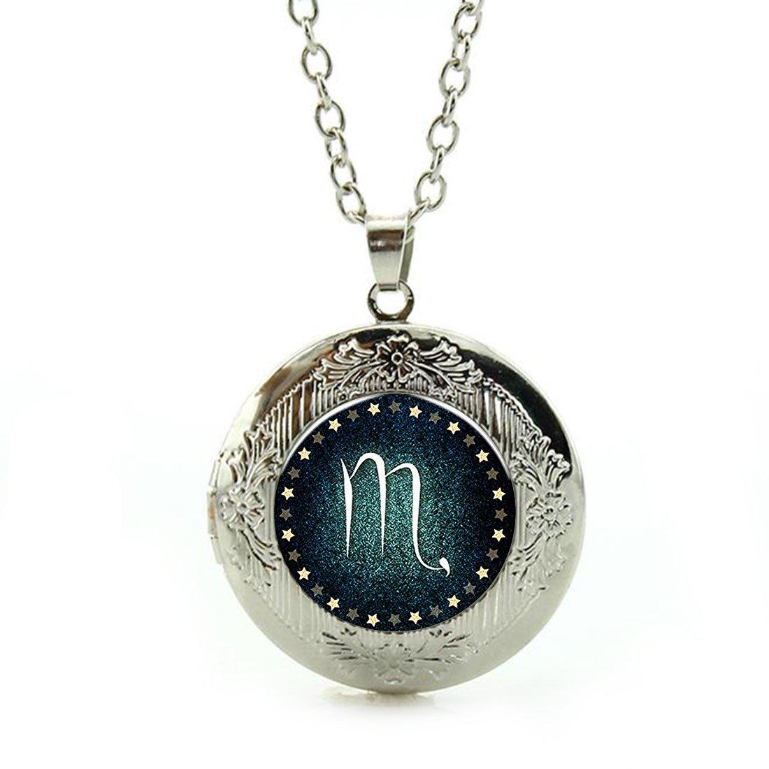Women's Custom Locket Closure Pendant Necklace Scorpio Birthday Jewelry Included Free Silver Chain, Best Gift Set