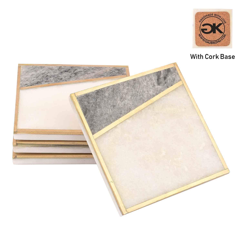 Large Size   Set of 4 GAURI KOHLI Elegant Marble /& Gray Granite Coasters With Cork Backing; Embellished With Gold Inlay