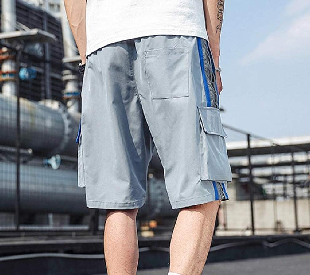 Whitive Men Loose-Fit Summer Relaxed Multi Pockets Outdoor Rip Stop Trouser