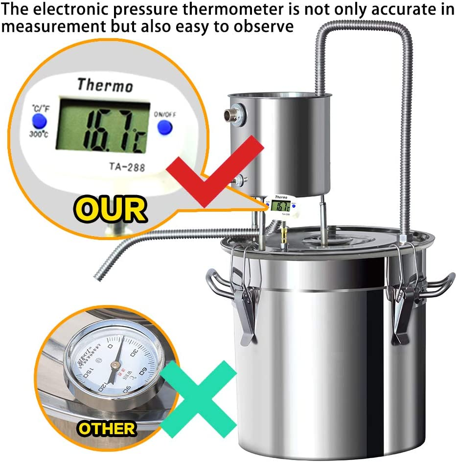 ZXMOTO 3Gal Moonshine Still 12L Stainless Steel Alcohol Distiller Home Brewing Kit Spirits Distiller with Thermonmeter Distilling Equipment
