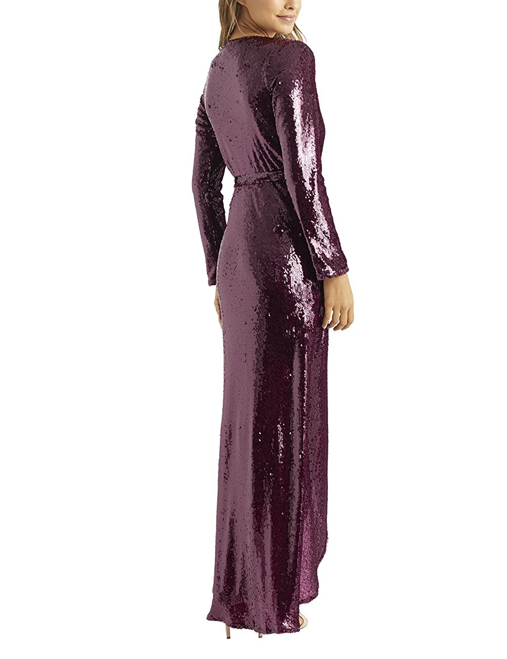 LIPSY Womens All Over Sequin Wrap Maxi Dress - Red -: Amazon.co.uk ...