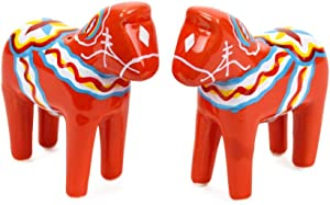 Red Swedish Themed Dala Horse Ceramic Salt & Pepper Shaker Set by E.H.G