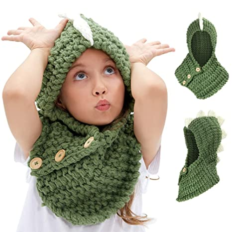 VAMEI Kids Cappello a Maglia con Cappuccio Cappuccio Sciarpa Cappelli  Inverno Caldo Cappelli Animali per Ragazze 46c36f69f849