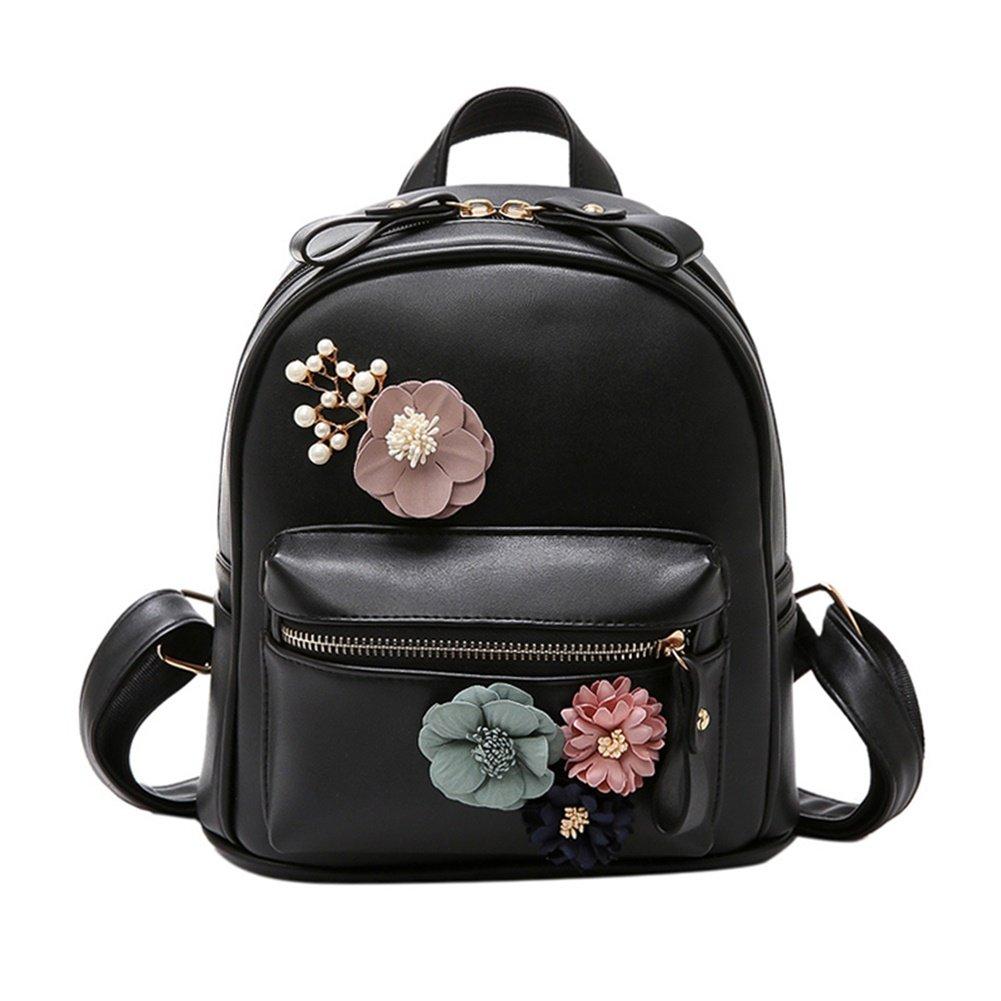 XLHMILY Mini Mochila de mujer de cuero PU Negro flor de boho hecha a mano Bolso de hombro pequeñ o bolso casual de la universidad mochila para niñ as adolescentes