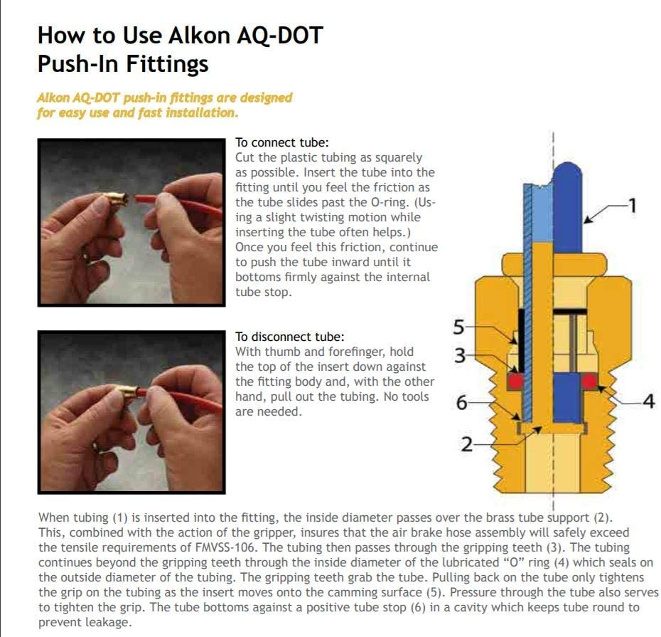 Air Brake Tube Fitting Swivel Alkon Brass D.O.T Made in USA 90 Degree Elbow 1//2 NPT x 5//8 T