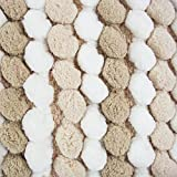 """DII Non-Slip Ultra Soft Chunky Chenille Microfiber Spa Bath Rug, Luxury & Absorbent, Place Near Vanity, Bath Tub or Shower for Bathroom, Dorm Room, And Other More Humidity Use, 17x24"""", Taupe Stripe"""