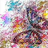 5D Diamond Painting Kit Full Drill DIY Rhinestone Embroidery Cross Stitch Arts Craft for Home Wall Decor Multicoloured Butterfly 12x12 inch