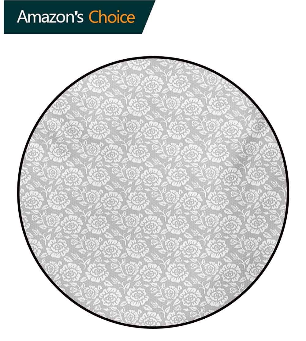RUGSMAT Grey Machine Washable Round Bath Mat,Retro Inspired Floral Design with Past Effects Dated Botanical Old Victorian Features Non-Slip No-Shedding Bedroom Soft Floor Mat,Diameter-59 Inch