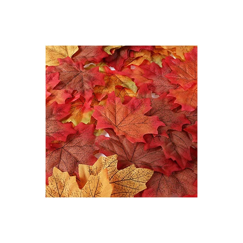 silk flower arrangements unomor 190 assorted artificial autumn maple leaves in 2 sizes with multi-color for thanksgiving day & wedding decorations