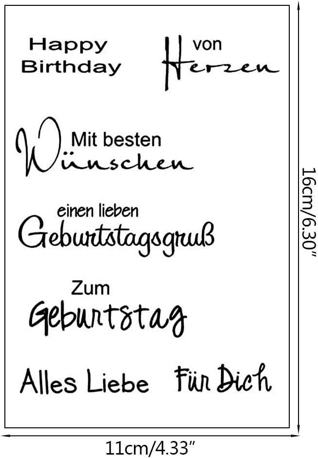 Haayward German Words DIY Silicone Clear Stamp Cling Seal Scrapbook Embossing Album Decor