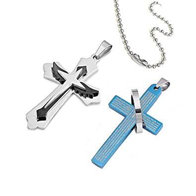 PRANA Juego de 2 Cruces de rezo de Acero Inoxidable Pulido ...