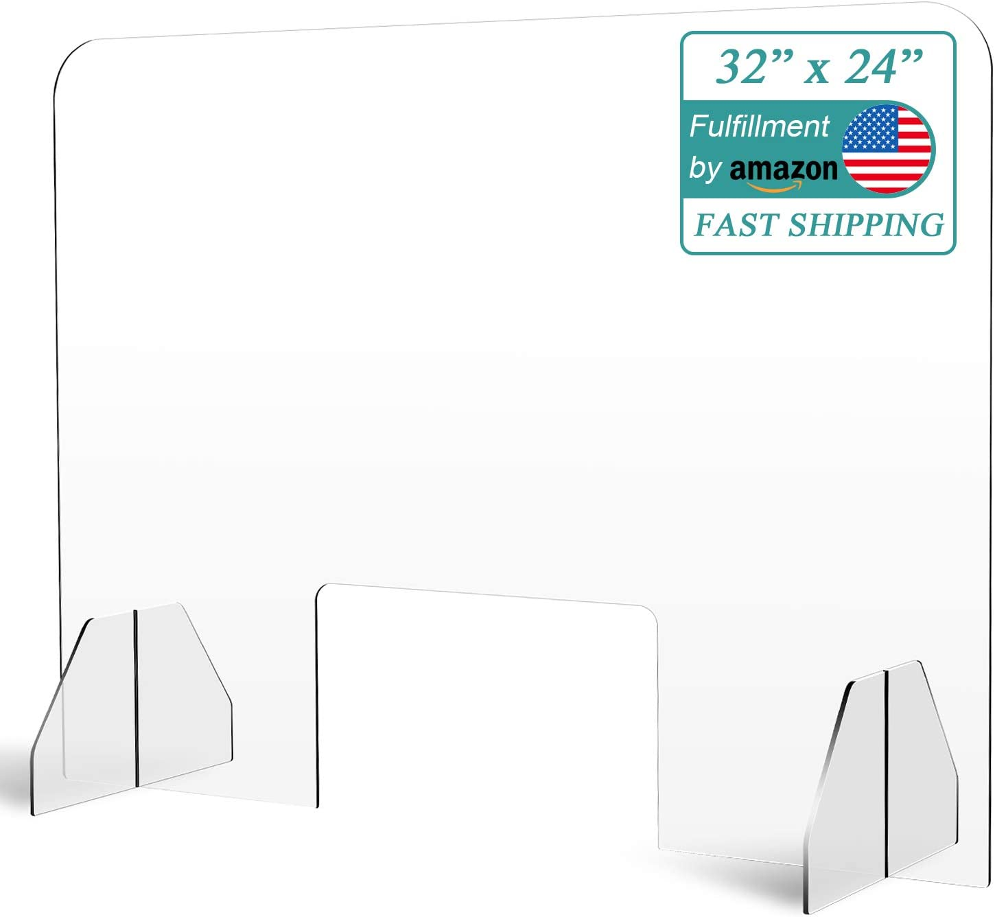 """i-FSK Protective Sneeze Guard (24""""High x 32""""Wide) - Portable Acrylic Divider Plexiglass Barrier Protection Shield for Checkout Counter Desk"""