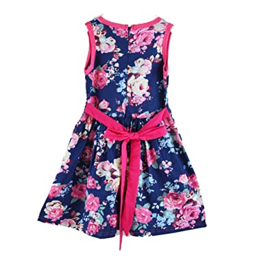Hiven Girls c Cotton Floral Sleeveless Vest Bowknot Belt Dress - Multi - 100 cm
