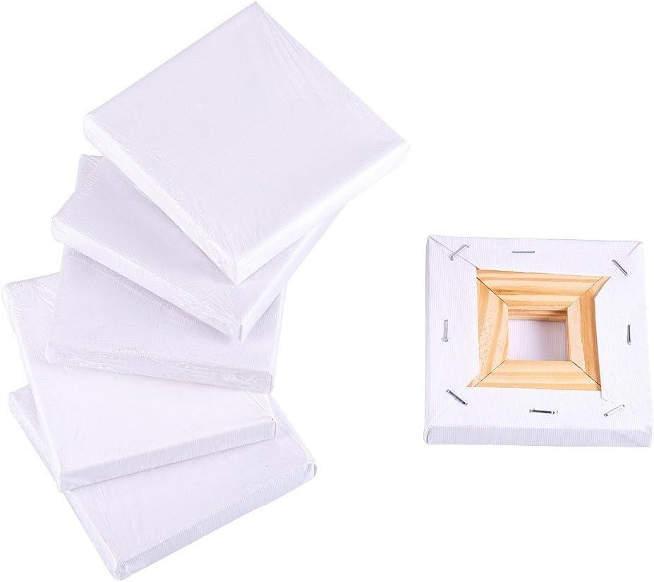 NBEADS Mini Lienzo, 6 Unidades 10x10cm Mini Panel Lienzo Marco de Madera Tablero de Pintura para Dibujar Decoración de Arte Y Regalo de Manualidades DIY