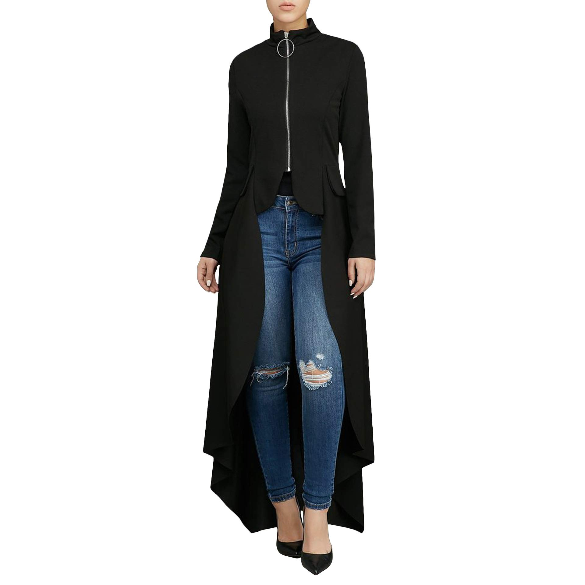 Women Long Dovetail Gothic Trench Coat Front Zipper Up Tailcoat Jacket