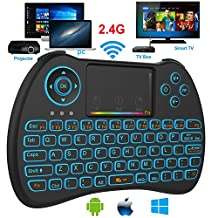 Mini Wireless Keyboard, Super-VIP 2.4GHz Mini Wireless Keyboard with Mouse Touchpad Rechargeable Combos for Android TV Box, Kodi,HTPC, IPTV, PC, PS3,Xbox 360, Raspberry Pi 3, (H9 RGB)