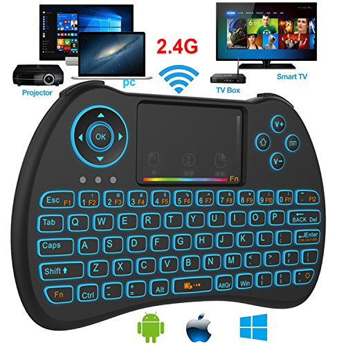 d56fc5742e6 on sale Mini Keyboard, SUPER-VIP H9 2.4GHz Colorful RGB Backlit Mini  Wireless Keyboard with Mouse Touchpad Rechargeable Combos for Android TV  Box, ...