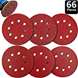 GOOOA 66Pcs 5 inch 8 Holes Sanding Discs 40/60/ 80/120/ 180/240 Grit Round Sandpaper Assorted for Random Orbital Sander