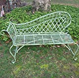 Garden Lounge Bench 35″ High – Wrought Iron – Antique Green Rustic Finish For Sale