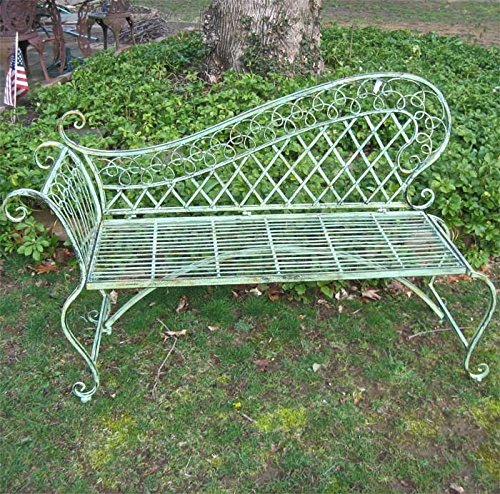 Cheap Garden Lounge Bench 35″ High – Wrought Iron – Antique Green Rustic Finish