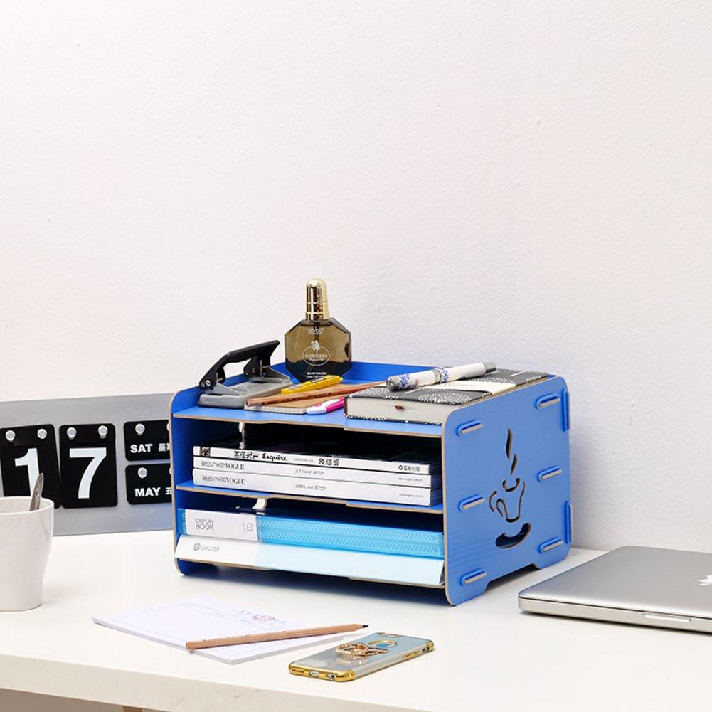 Lililili Zeitungsständer Holz, Desktop-Speicher-Rack Rack datei Desktop-briefpapier-aufbewahrungsbox Bücher Stand Informationen Regale Haushaltswaren Bürobedarf-Blau 33x25x19cm(13x10x7inch)