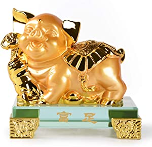 PopTop Brass Golden Resin Feng Shui Statue Chinese Zodiac Animal Pig Home Office Table Top Decor Figurine Gift Collection PTZY123