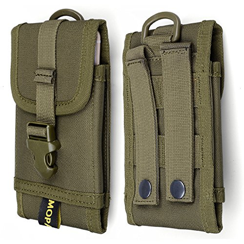 Mopaclle MOLLE Tactical Smartphone Pouch Universal Army Black Waist Holster with Belt Clip Carrying Pouch Belt Loops Waist Bag Case for iPhone 6/6s 6plus, Samsung S9+/S8 Plus/Note 8