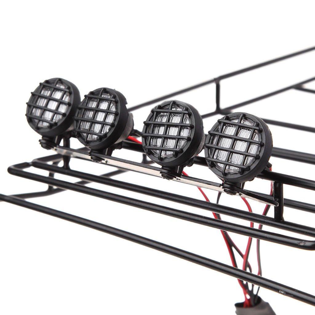 LyGuy Metalldachgepäckträger mit mit mit LED-Lichtleiste für 1:10 Axial SCX10 Traxxas TRX-4 Gepäckträger mit 4 weißen LED-Lichtern e0d4a0