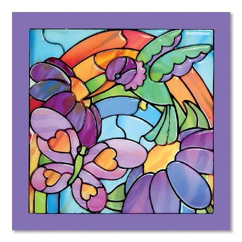 Melissa & Doug Stained Glass See-Through Window Art Kit: Rainbow Garden - 80+ Stickers, Frame (Stained Fine Art Glass)