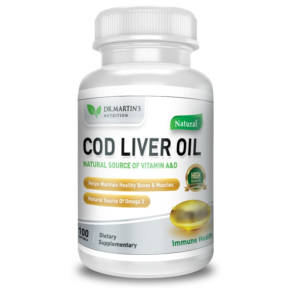 COD LIVER OIL | 100 Softgels | Natural Source Of Omega 3 Fatty Acids | 100