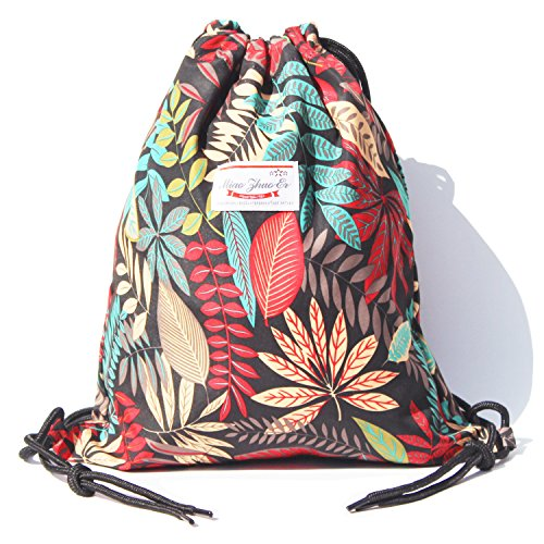 Floral Beach Bag (Alpaca Go Drawstring Bag Water Resistant Floral Leaf Lightweight Gym Sackpack for Hiking Yoga Gym Swimming Travel Beach (B - Black))