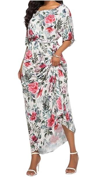 9399ca526 Generic Women's Floral Print Long Dress Short Sleeve Empire Flower Maxi  Dresses ...