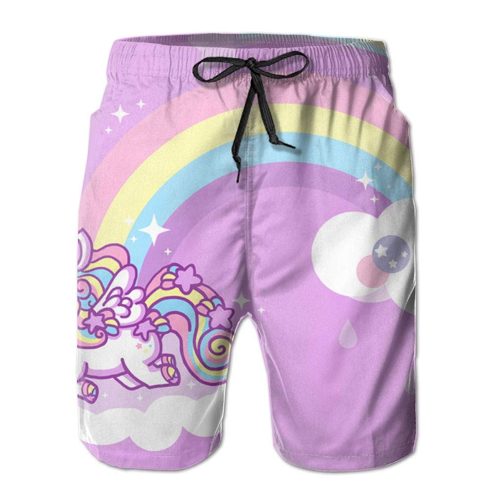 Pink Unicorn Mens Beach Board Shorts Quick Dry Summer Casual Swimming Soft Fabric with Pocket