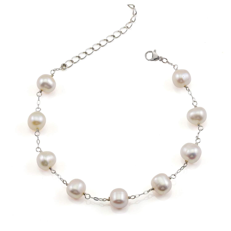 JFUME Women Gift Cultured Freshwater White Pearl Bracelet S925 Sterling Silver Bracelet Adjustable 7.6inch Plus Extention Chain by JFUME