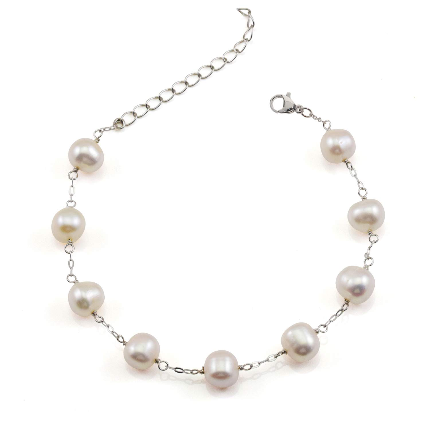 Women Bracelet Freshwater Cultured Pearl with 925 Sterling Silver Chain 7.5 JFUME MEPB-002WH