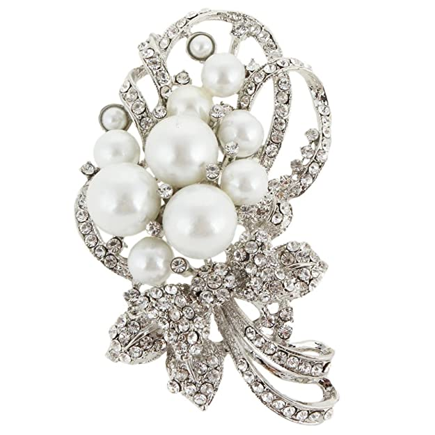 1940s Costume Jewelry: Necklaces, Earrings, Brooch, Bracelets EVER FAITH Bridal Bouquet Ivory Color Simulated Pearl Brooch Pendant Clear Austrian Crystal $17.99 AT vintagedancer.com