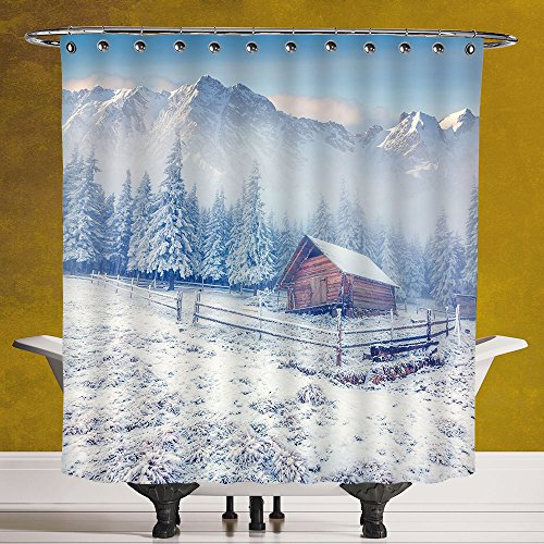 Unique Shower Curtain 3.0 by SCOCICI [ Winter,Old Farmhouse in Snow Season Mountains and Frosted Forest Rustic Life Photography Decorative, ] Polyester Fabric Bath Decorative Curtain Ideas