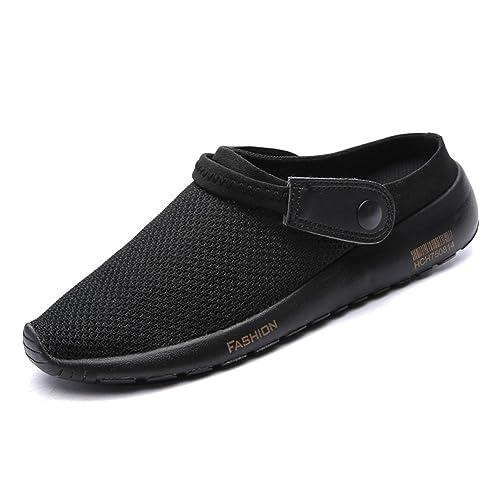 lingtom mens non slip clogs and mules house garden work shoes slippers sandalsblack gold - Mens Garden Shoes