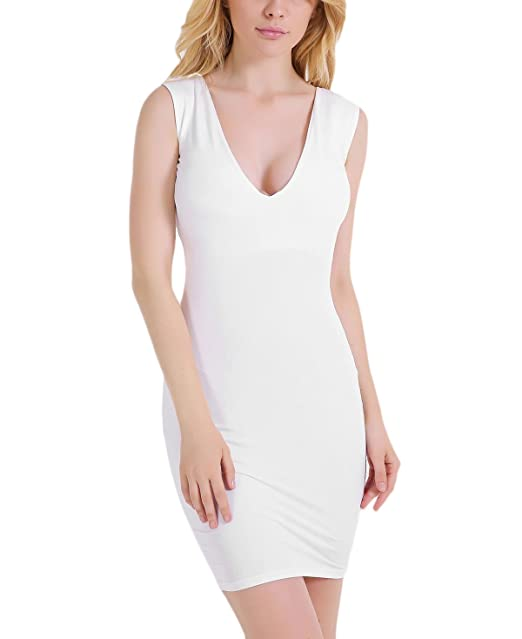 Vestidos Verano Mujer Elegante Sin Mangas V Cuello Skinny Cortas Vestido Color Sólido Casual Espalda Abierta Dress Blanco Señora Moda Fiesta: Amazon.es: ...