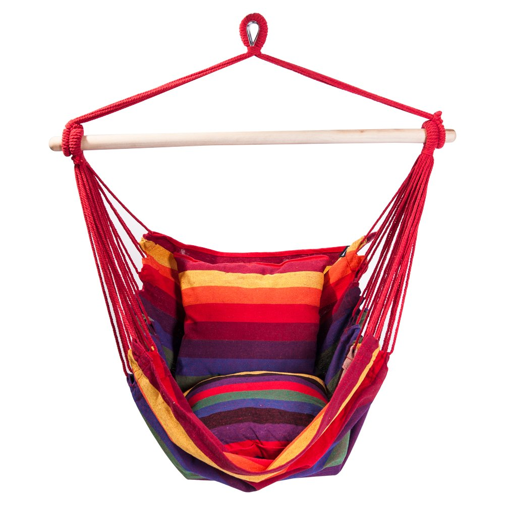SUNMERIT Hanging Rope Hammock Chair Porch Swing Seat, Large Cotton Hammock Net Chair Swing for Indoor, Outdoor, Garden, Patio, Yard, 275 lbs Capacity, 2 Seat Cushions Included Red Yellow Stripes