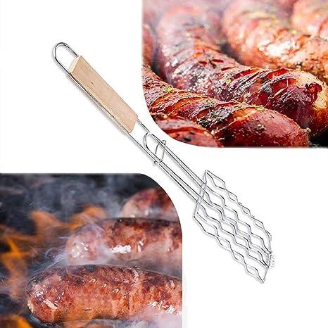 GO-AHEAD Parrilla Barbacoa Hot Dog Grill Basket Mango De ...