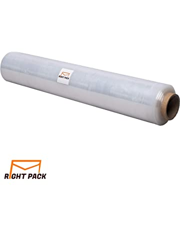 PKGE Black Heavy Duty Extended Core Pallet Stretch Shrink Wrap Parcel Packing Cling Film For Industrial With Handle Pack of 1 Roll