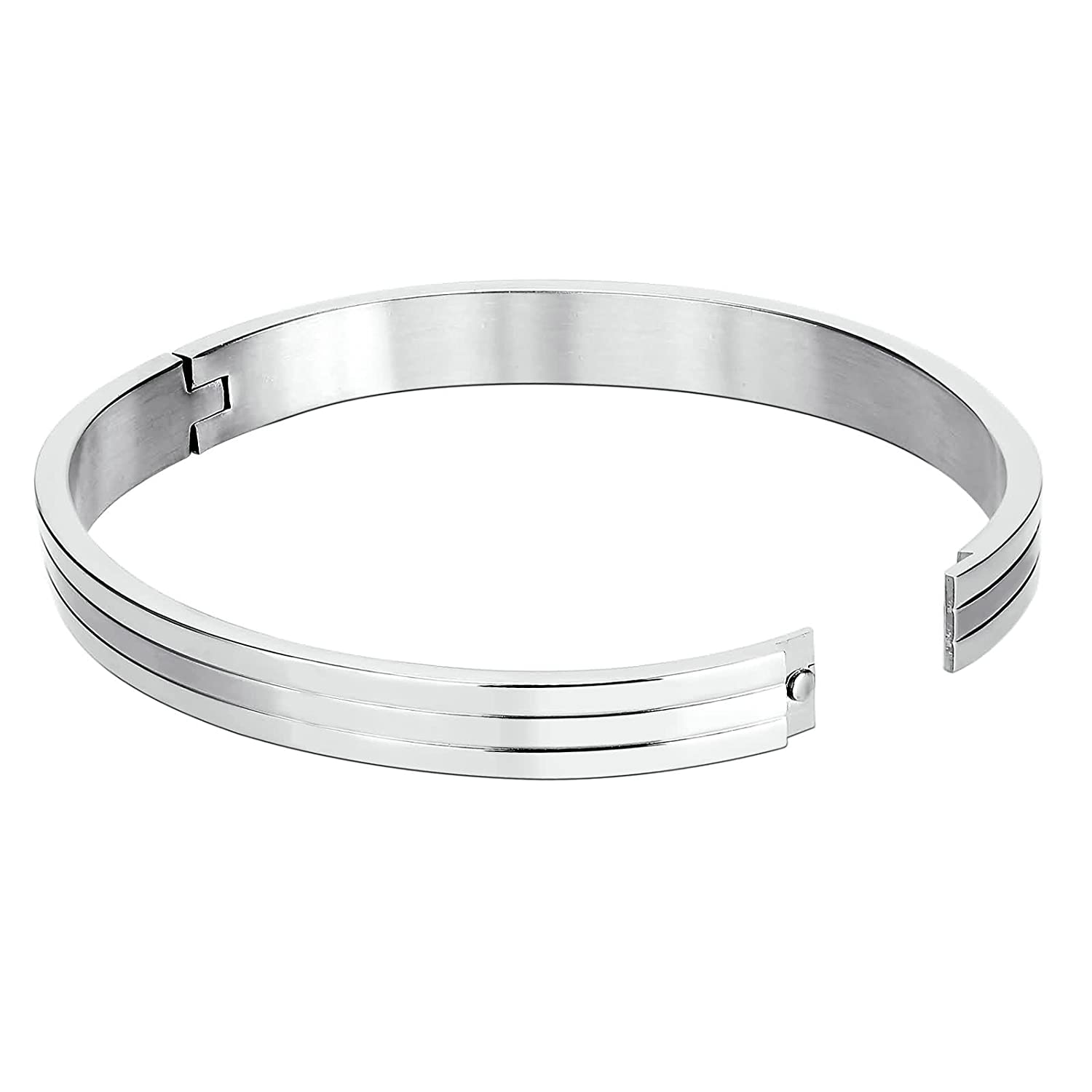 KnSam Cuff Bracelets for Womens Stainless Steel Triple Bar Silver