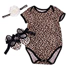Zeroyoyo Infant Baby Girls Leopard Romper Headband Shoes, Set of 3