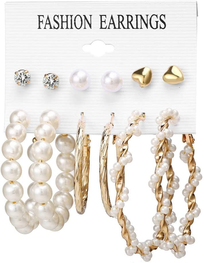 LUCOG - Pendientes Bohemian Pearl Acrílic Acetate Board Shell para Mujer