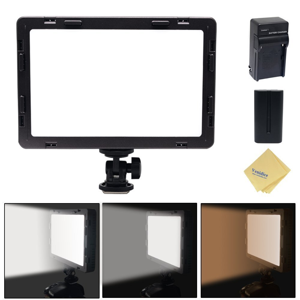 Mcoplus Air-1000b 160pcs CRI95 Bi-color Ultra-thin Dimmable Panel Digital Camera/Camcorder video Led Light for Canon Nikon Sony Panasonic Olympus Pentax Camera with Sony NP-550 Battery+charger(Black)