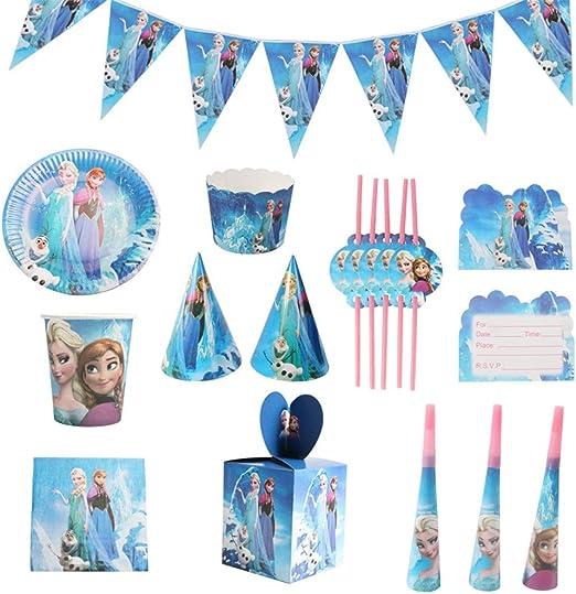 QAnter 104 Piezas Frozen Elsa y Anna Tazas temáticas Servilletas ...