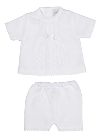 New In Spanish Style Baby Boys 2 Piece Knitted Summer Short And